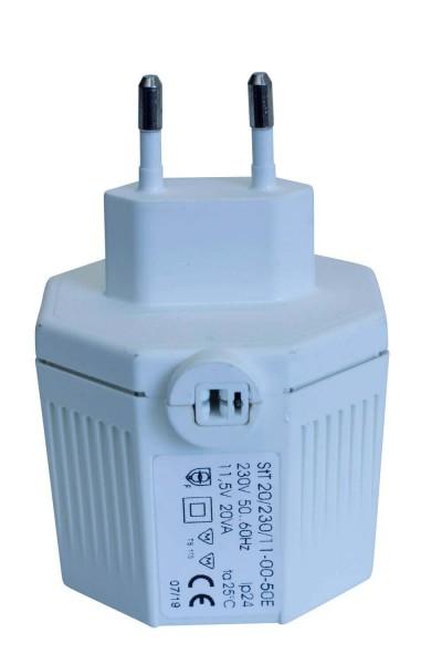 Steckertrafo mit Lautsprecherbuchse, max. 20 VA, weiß, 230 V ~ 11,5 V