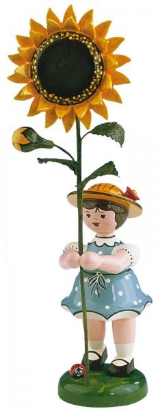 Mädchen mit Sonnenblume aus Holz aus der Serie Hubrig Blumenkinder