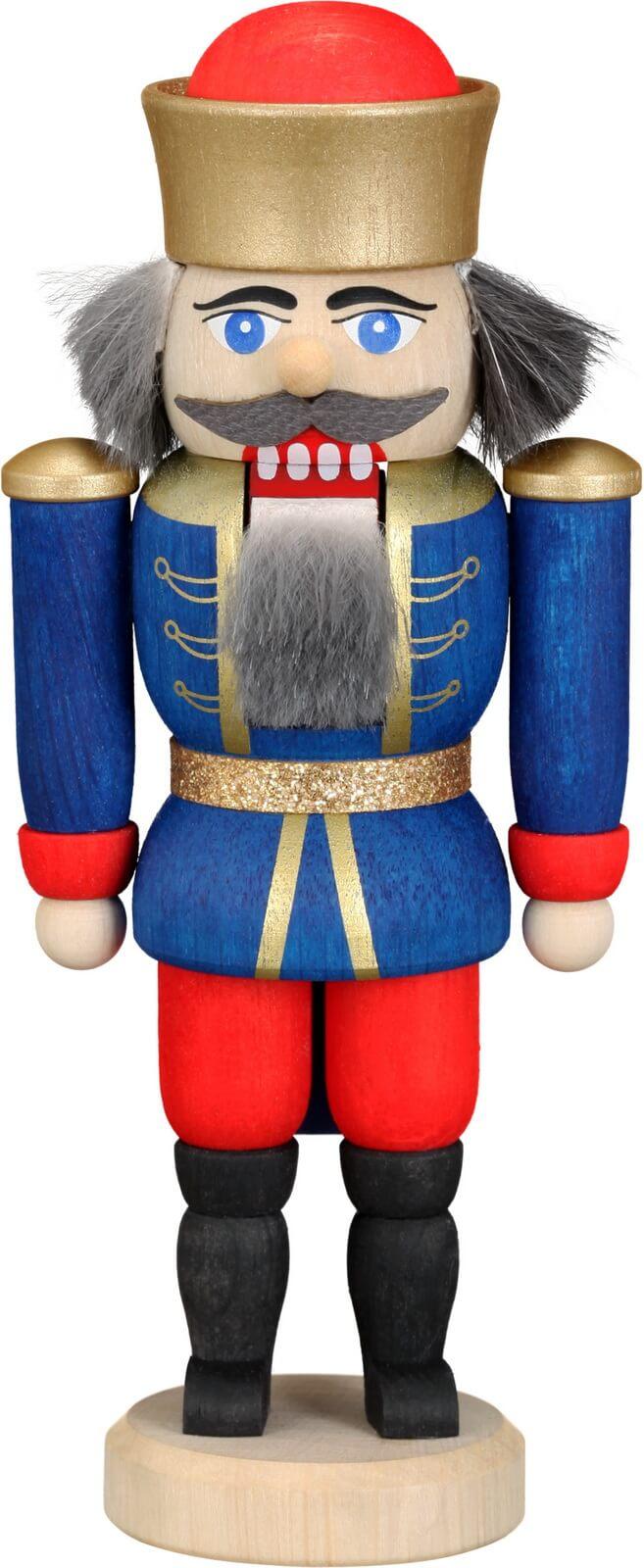 Ihre Majestät der Nussknacker König in blau, 12 cm von Seiffener Volkskunst eG Seiffen/ Erzgebirge, gibt uns die Ehre. Dienten früher die Nussknacker oder …
