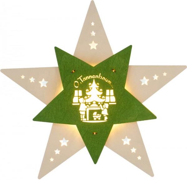 Weigla LED Fensterbild Stern Oh Tannenbaum