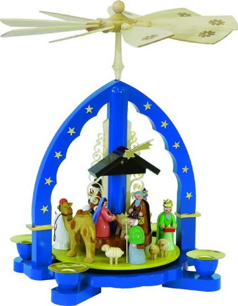 Weihnachtspyramide Heilige Drei Könige, blau, blau, 27 cm, Richard Glässer GmbH Seiffen/ Erzgebirge