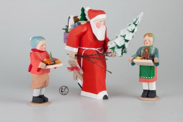 Holzschnitzerei Weihnachtsmann mit Strizelkindern, 22 und 13 cm, Bettina Franke Deutschneudorf/ Erzgebirge