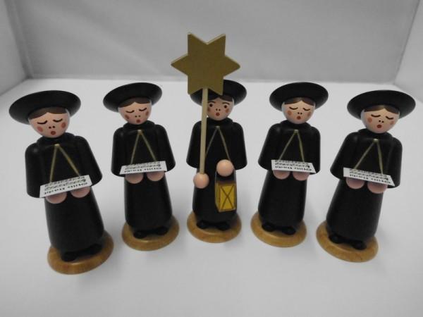 Weihnachtsfiguren Kurrendekinder, 5 Stück, schwarz, 9 cm, Nestler-Seiffen.com OHG Seiffen/ Erzgebirge
