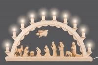 Vorschau: Schwibbogen mit Christi Geburt, geschnitzt, natur, elektrisch beleuchtet, 60 cm x 29 cm, Nestler-Seiffen.com OHG Seiffen/ Erzgebirge