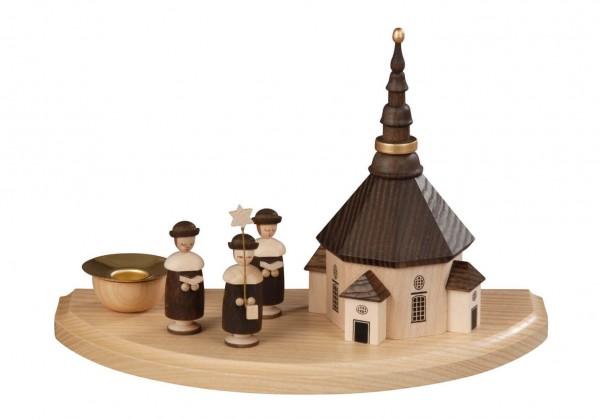Weihnachtskerzenhalter Seiffener Kirche mit Kurrende hergestellt von Albin Preißler