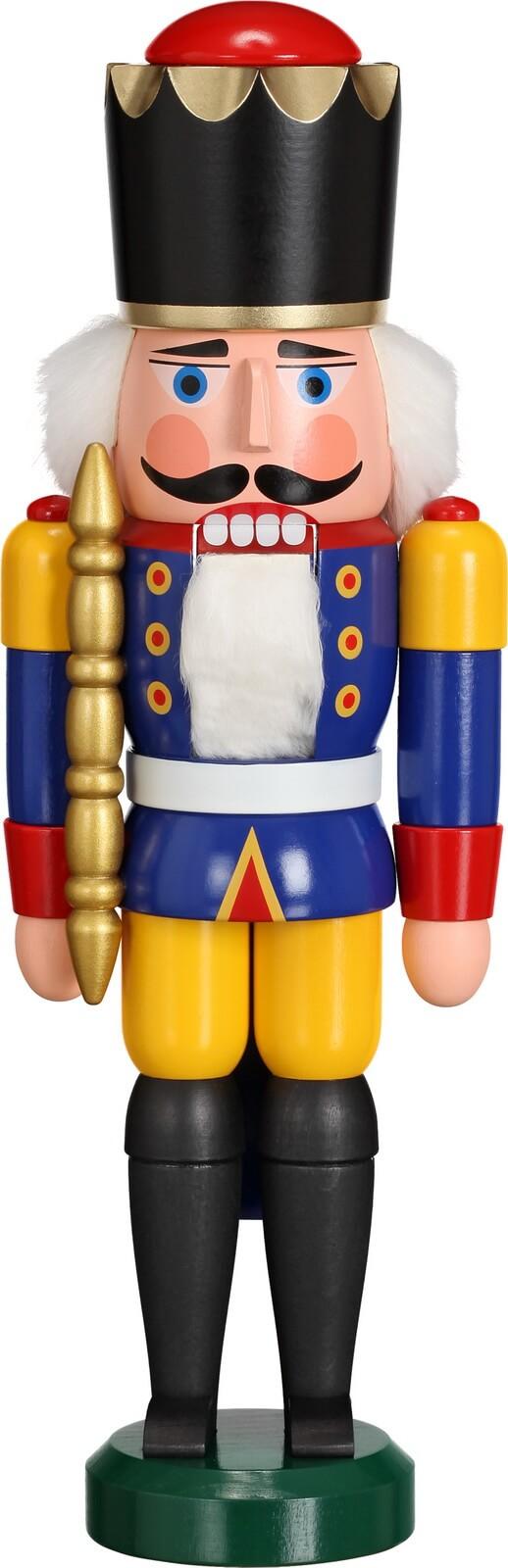 Darf ich vorstellen, Ihre Majestät Nussknacker König in blau, 29 cm von Seiffener Volkskunst eG aus Seiffen/ Erzgebirge. Dienten früher die Nussknacker oder …