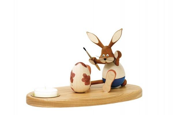 Knuth Neuber, Osterkerzenhalter Hase sitzend, farbig, 12 cm