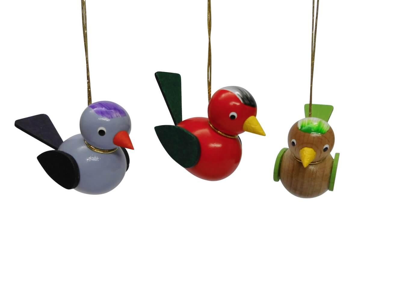 Vögel zum hängen, 3 Stück, lila/rot/braun, 5 x 4 cm von Nestler-Seiffen.com OHG Seiffen/ Erzgebirge