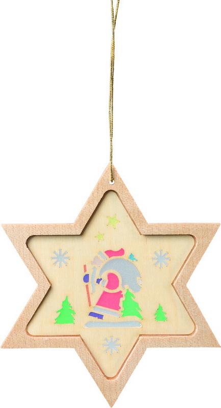 Stern mit Diaphanbild Weihnachtsmann, 8 cm, Richard Glässer GmbH Seiffen/ Erzgebirge