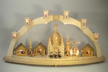 Schwibbogen Dresdner Frauenkirche mit Pyramide, komplett elektrisch beleuchtet, 41 x 80 cm,Richard Glässer GmbH Seiffen/ Erzgebirge
