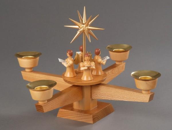 Adventsleuchter, natur - 4 stehende Engel, Adventsleuchter aus massivem Ulmenholz , naturbelassen, Engel mit Gesangbuch gedrechselt, in Handarbeit bemalt, …