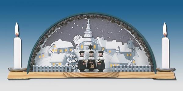 Schwibbogen mit Kurrende und Erzbogen und elektrischer Hintergrundbeleuchtung, 33 x 14 cm, Manufaktur Klaus Kolbe Seiffen/ Erzgebirge