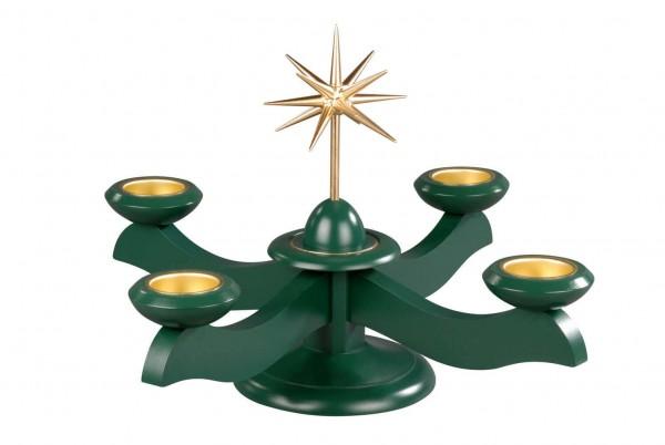 Albin Preißler Adventsleuchter mit Weihnachtsstern, grün für Teelichter