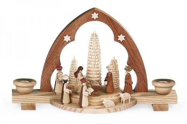 Schwibbogen Christi Geburt mit Spitzbogen, natur, 30 x 10 x 18 cm, Müller GmbH Kleinkunst aus dem Erzgebirge