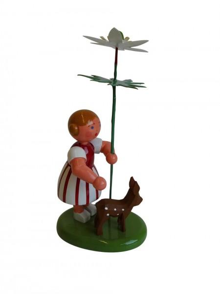 Blumenkinder - Blumenkind Mädchen mit Reifentier (Rehkietz) und Buschwindrose, 10 cm von WEHA-Kunst Dippoldiswalde/ Erzgebirge