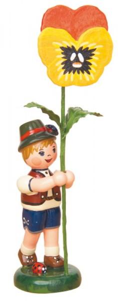 Blumenkind Junge mit Stiefmütterchen, 11 cm von Hubrig Volkskunst GmbH Zschorlau/ Erzgebirge