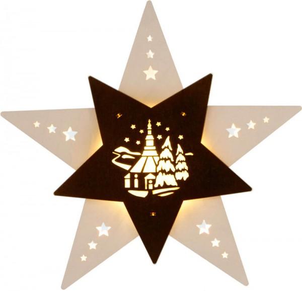 Weigla LED Fensterbild Stern mit Seiffener Kirche