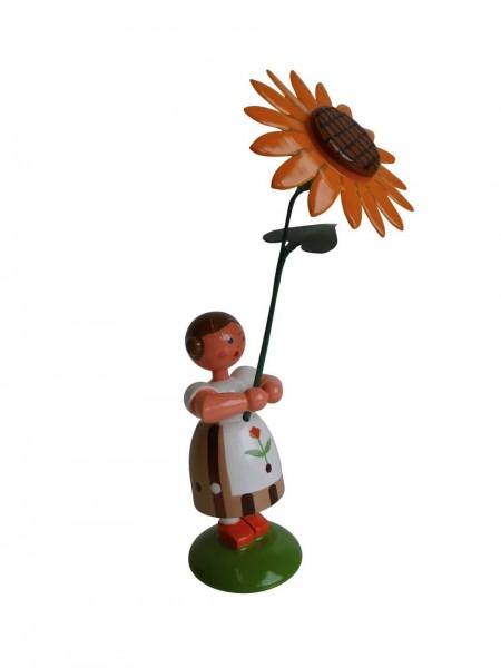Blumenkinder - Sommerblumenkind Mädchen mit Sonnenblume, 12 cm von WEHA-Kunst Dippoldiswalde/ Erzgebirge
