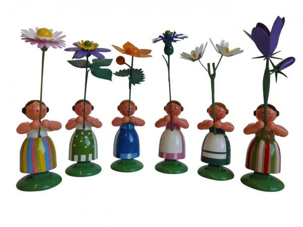 Blumenkinder - Wiesenblumenmädchen, 6 Stück, 11 cm von WEHA-Kunst Dippoldiswalde/ Erzgebirge
