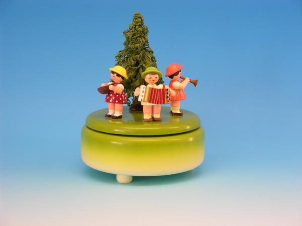 Spieluhr & Spieldose grün mit 3 Instrumentenkindern, 13,0 x 13,0 x 14,0 cm, Frieder & André Uhlig Seiffen/ Erzgebirge