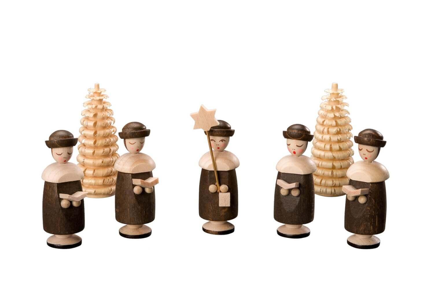 Albin Preißler Kurrendefiguren mit Hut, 5 Stück und 2 Ringelbäumchen, natur