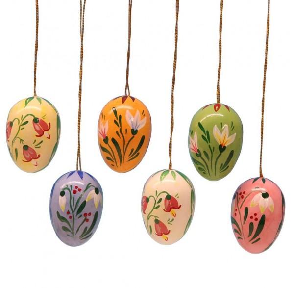 Ostereier mit Blumen, 6 Stück, handbemalt, 6 verschiedene Farben im Satz, 3,5 cm von Frieder & André Uhlig Seiffen/ Erzgebirge