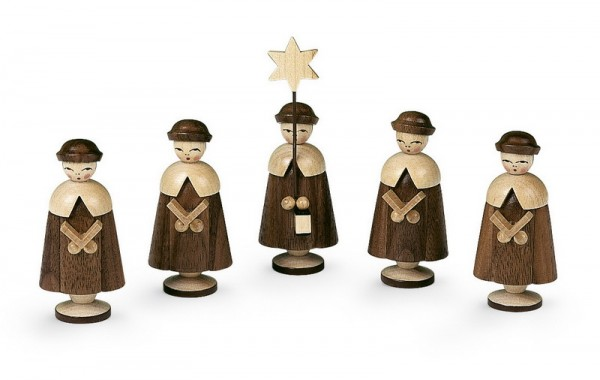 Kurrende, 5 Figuren mittelgroß, natur, 6,5 cm, Müller GmbH Kleinkunst aus dem Erzgebirge