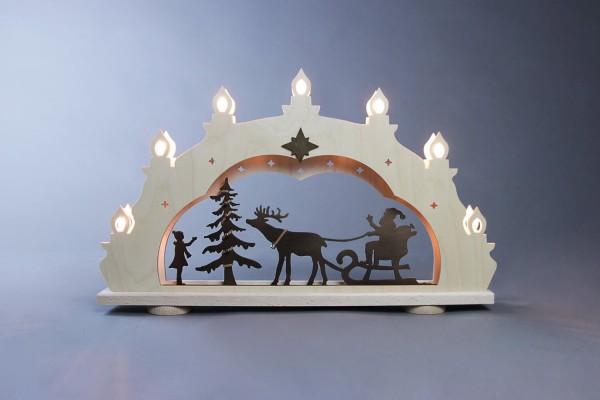 Schwibbogen Rustikal Weihnachtsmann auf Schlitten, 7 flammig, elektrisch beleuchtet, 52 x 32 x 6 cm von Weigla - Günter Gläser Deutschneudorf/ Erzgebirge Der …