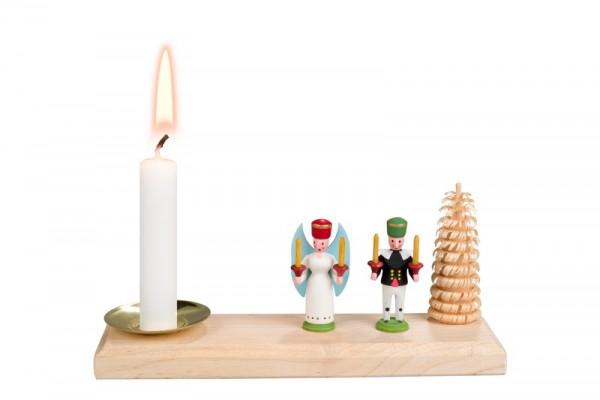 Weihnachtskerzenhalter Engel und Bergmann, bunt, 15 x 4 cm von Nestler-Seiffen.com OHG Seiffen/ Erzgebirge