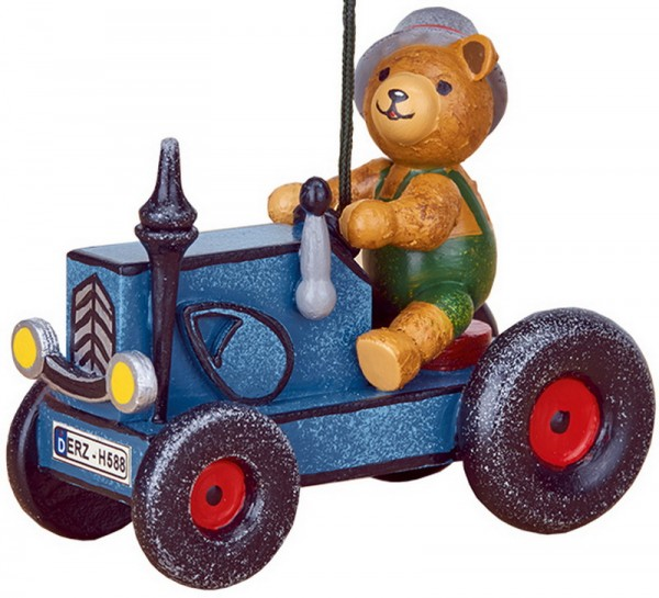Christbaumschmuck Traktor mit Teddy, 8 cm, Hubrig Volkskunst