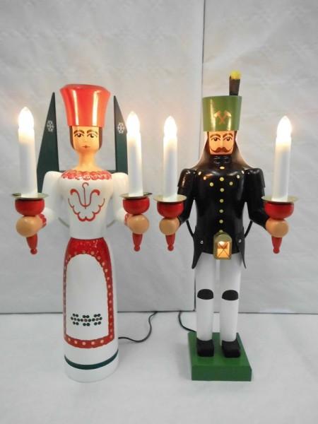 Engel und Bergmann mit Bauchlampe, bunt bemalt, elektrisch beleuchtet, jede Figur hat einen eigenen Trafo, 38 cm von Nestler-Seiffen.com OHG Seiffen/ Erzgebirge