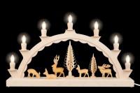 Vorschau: Schwibbogen von Nestler-Seiffen mit geschnitzten Hirschen, elektrisch beleuchtet_Bild2