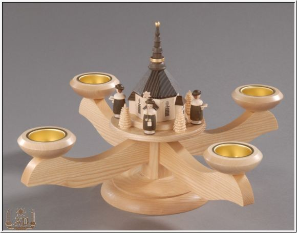Adventsleuchter, natur - Seiffener Kirche (beleuchtet) mit Kurrende, Adventsleuchter aus massivem Eschen- und Ahornholz, naturbelassen, Kurrendesänger …