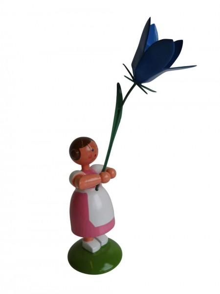 Blumenkinder - Sommerblumenkind Mädchen mit Sommerglockenblume, 12 cm von WEHA-Kunst Dippoldiswalde/ Erzgebirge