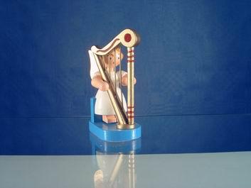 Weihnachtsengel mit Harfe, 6 cm, WEHA-Kunst Dippoldiswalde/ Erzgebirge
