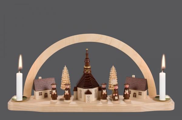 Schwibbogen Seiffener Kirche, für Wachskerzen, 35 x 27 cm, Nestler-Seiffen.com OHG Seiffen/ Erzgebirge