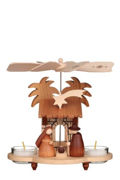 Weihnachtspyramide Heilige Familie, natur, 20 cm von Christian Ulbricht GmbH & Co KG Seiffen/ Erzgebirge