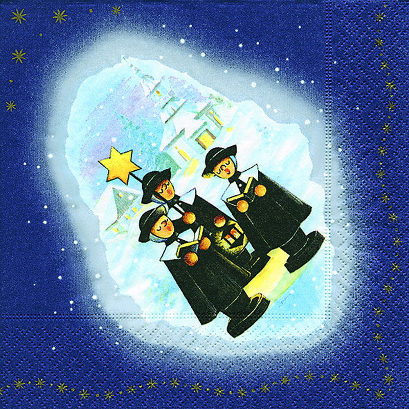 Weihnachtsservietten mit Kurrendesängermotiv, 20 Stück, 3 - lagig, 33 x 33 cm