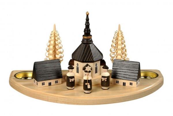 Weihnachtskerzenhalter Seiffener Dorf mit Kurrende für Teelichter hergestellt von Albin Preißler