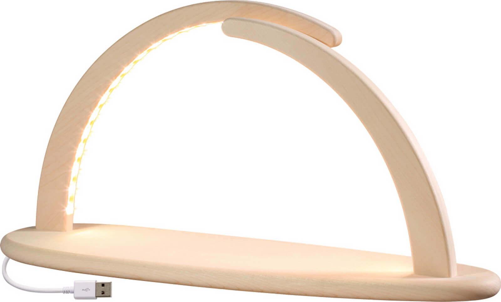LED Schwibbogen groß, in natur ohne Bestückung mit USB und doppelten Bogen von Seiffener Volkskunst eG Seiffen/ Erzgebirge. Diese modernen …