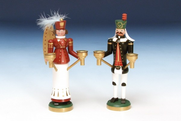 Engel und Bergmann, bunt, 23 cm, Knuth Neuber Seiffen/ Erzgebirge