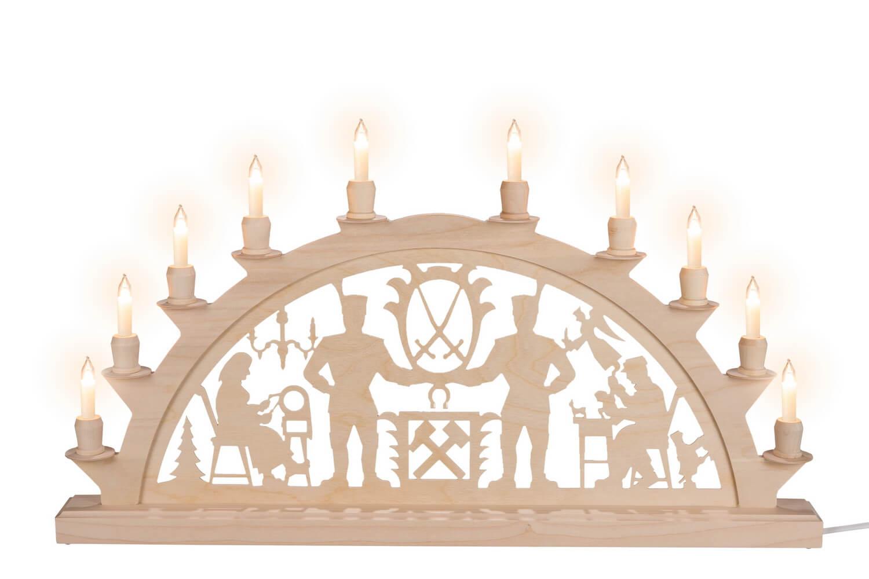 Schwibbogen mit Schwarzenberger Motiv elektrisch beleuchtet mit 10 Kleinschaftkerzen von Nestler-Seiffen_Bild1