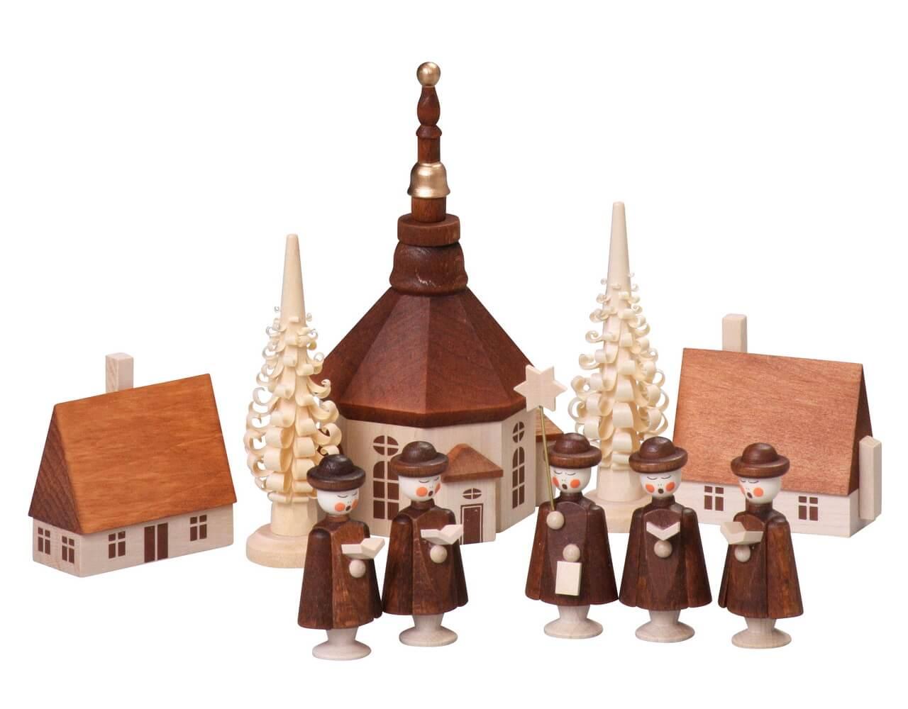 Kurrende mit Seiffener Dorf, 10-teilig, 12 cm von Thomas Preißler