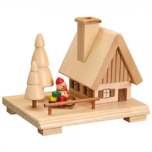 Räucherhaus mit Schneemann, natur, 12 cm, Jan Stephani aus Seiffen im Erzgebirge