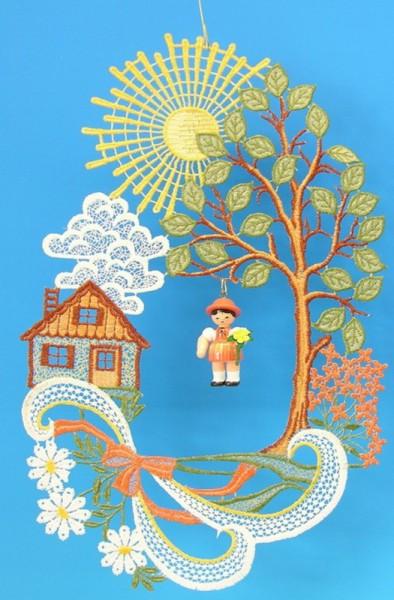 Fensterbild Plauener Spitze Haus mit Sonne und Blumenmädchen, 22 x 37 cm von Frieder & André Uhlig Seiffen/ Erzgebirge