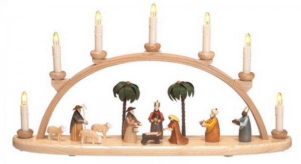 Schwibbogen mit Christi Geburt. Als Bestückung wurden für diesen Schwibbogen eine Heilige Familie, die Heiligen 3 Königen, ein Hirte mit Schafen und 2 Palmen …