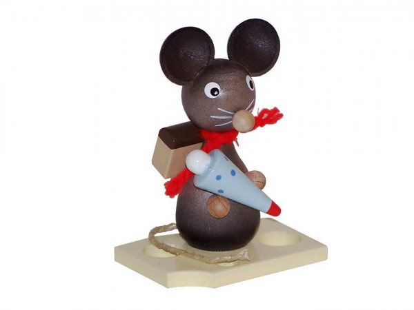 Mäusekind mit Zuckertüte, 7 cm von Volker Zenker aus Seiffen
