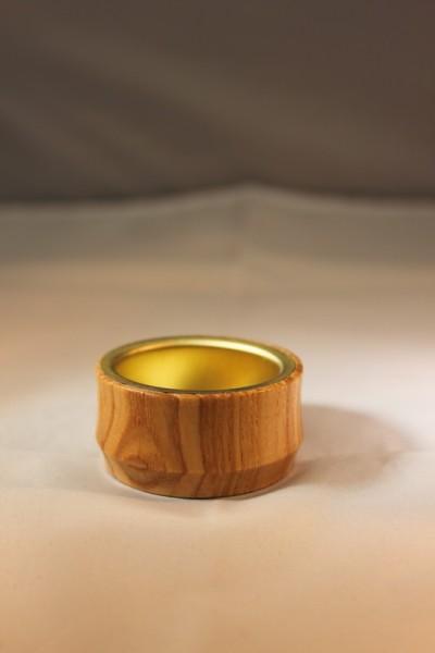 Kerzenhalteraufsatz für Teelichter, natur, mit Metalleinsatz, Durchmesser 5 cm, Nestler-Seiffen.com OHG Seiffen/ Erzgebirge