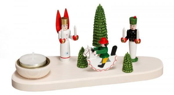 Weihnachtskerzenhalter für Teelichte Engel, Bergmann, Reiterlein, bunt, 11 cm von Volkskunstwerkstatt Eckert aus Seiffen/ Erzgebirge