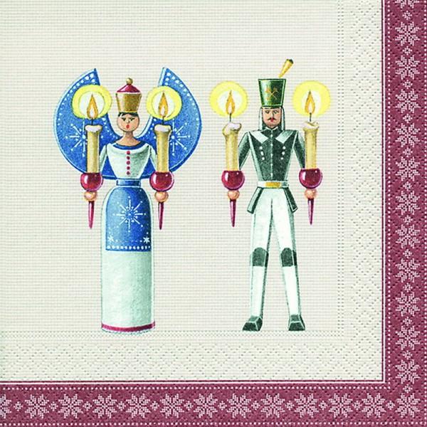 Weihnachtsservietten Engel und Bergmannmotiv, 20 Stück, 3 - lagig, 33 x 33 cm